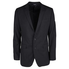 Dolce and Gabbana Martini Black Wool Tailored Two Button Blazer XL