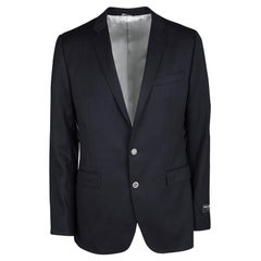 Dolce and Gabbana Martini Navy Blue Wool Tailored Two Button Blazer XL