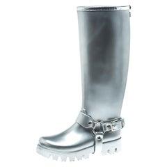Dolce and Gabbana Metallic Silver Platform Rain Boots Size 37
