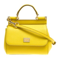 Dolce and Gabbana Yellow Leather Micro Miss Sicily Top Handle Bag