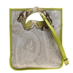 Etro Grey/Green Paisley Printed Coated Canvas and Leather Crossbody Bag