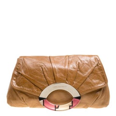 Emilio Pucci Brown Leather Clutch