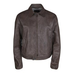 Emporio Armani Brown Embossed Leather Zip Front Jacket XL