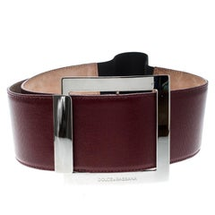 Dolce and Gabbana Red Coated Canvas Waist Belt 85cm