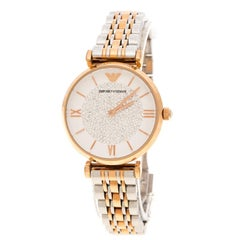 Emporio Armani White Crystal Two Tone Stainless Steel AR1926 Women's Wristwatch