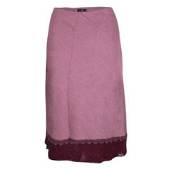 Etro Pink Wool Blend Velvet Trim Bead Detail Midi Skirt S