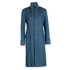 Ermanno Scervino Denim Embellished Long Jacket S