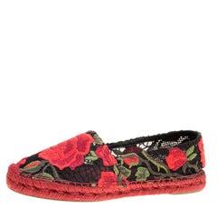 Dolce and Gabbana Rose Lace Macrame Espadrilles Size 37