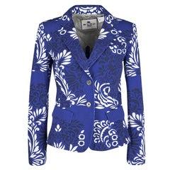 Etro Blue and White Floral Printed Cotton Blazer M