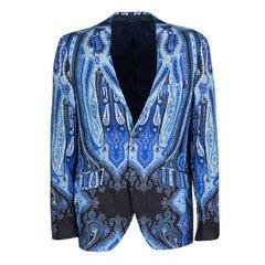 Etro Blue Paisley Printed Linen Minerva Foulard Superleggera Blazer M