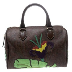 Etro Brown/Multicolor Paisley Printed Coated Canvas Embroidered Boston Bag