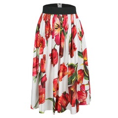 Dolce and Gabbana White and Red Tulip Printed Gathered Cotton Skirt S