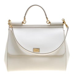 Dolce and Gabbana White Leather Large Miss Sicily Tote