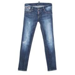Dsquared2 Indigo Distressed Splatter Effect Denim Skinny Jeans S