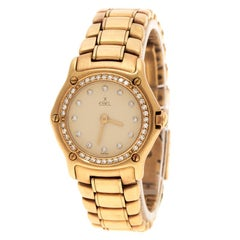 Ebel Cream18K Yellow Gold Diamond 8057902 Women's Wristwatch 24 mm