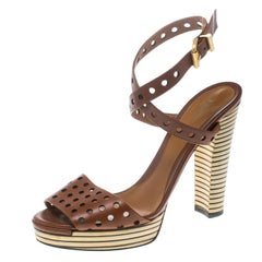 Fendi Brown Perforated Leather Ankle Strap Platform Sandals Size 38.5