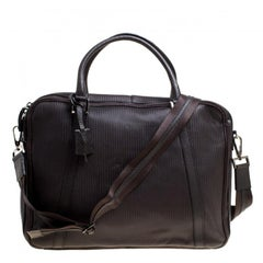 Fendi Dark Brown Woven Embossed Leather Laptop Bag