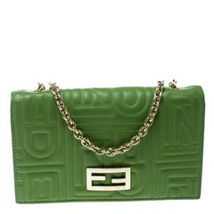 Fendi Green Embossed Leather Chain Wallet