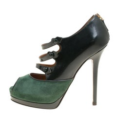 Fendi Green Suede And Leather Peep Toe Platform Pumps Size 39.5