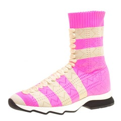 Fendi Pink and Beige Stripes Knit Fabric Sneaker Boots Size 38