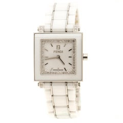 Fendi White Ceramic And Stainless Steel Quadro Women's Wristwatch 25 mm