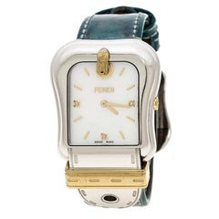 Fendi White Mother of Pearl Gold Plated Stainless Steel 3800G Women's Wristwatch
