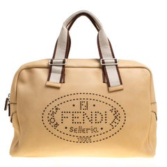 Fendi Yellow Selleria Leather Weekender Bag