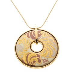 Frey Wille Magic Sphinx Fire Enamel Gold Plated Round Pendant Necklace