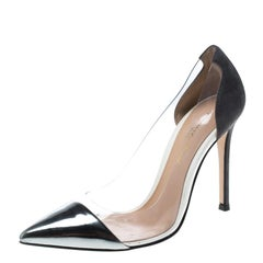 Gianvito Rossi Grey Patent Leather and PVC Plexi Pointed Toe Pumps Size 36