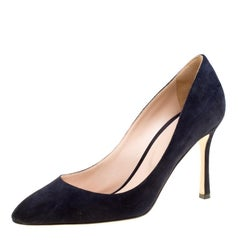 Gianvito Rossi Navy Blue Suede Pointed Toe Pumps Size 38