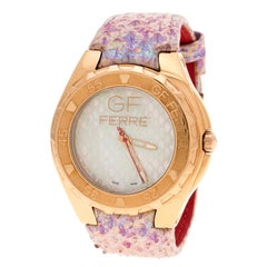 Gianfranco Ferre Mother of Pearl Gold-Plated Stainless Steel 9062J Women's Wrist