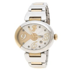 Gianfranco Ferre Silver White Stainless Steel Diamond Collection Oval Watch 44 m