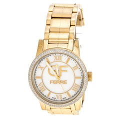 Gianfranco Ferre White Mother of Pearl Gold Plated Stainless Steel Women's Wrist