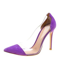 Gianvito Rossi Purple Suede and PVC Plexi Pointed Toe Pumps Size 36.5