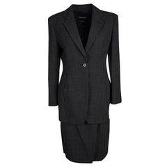 Giorgio Armani Vintage Monochrome Dotted Blazer and Skirt Set M