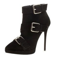 Giuseppe Zanotti Black Buckled Suede Platform Ankle Boots Size 38.5