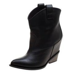 Giuseppe Zanotti Black Leather Pointed Toe Boots Size 41