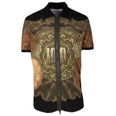 Givenchy Money Print Honeycomb Knit Colombian Fit Zip Up Polo T-Shirt M