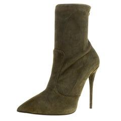 Giuseppe Zanotti Khaki Suede Ankle Boots Size 40