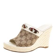 Gucci Beige GG Canvas Espadrille Wedge Peep Toe Slides Size 36.5