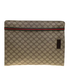 Gucci Beige GG Supreme Canvas Portfolio Document Case