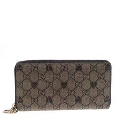 Gucci Beige GG Supreme Canvas Zip Around Wallet