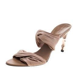 Gucci Beige Stretch Plisse Fabric Bamboo Heel Slides Size 38.5