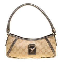 Gucci Beige/Grey GG Canvas and Leather Small Abbey Shoulder Bag
