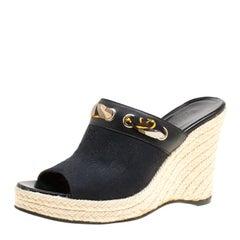 Gucci Black GG Canvas Espadrille Wedge Peep Toe Slides Size 37