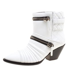 Giuseppe Zanotti White Quilted Leather Ankle Boots Size 38.5