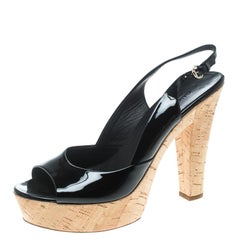 Gucci Black Patent Leather Cork Platform Peep Toe Slingback Sandals Size 39