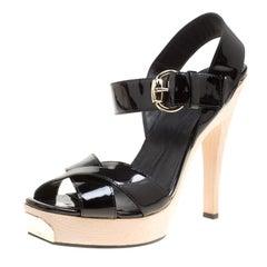 Gucci Black Patent Leather Criss Cross Ankle Strap Sandals Size 38.5