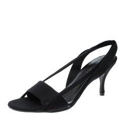 Gucci Black Satin Open Toe Slingback Sandals Size 35.5