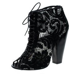 Givenchy Black Lace Peep Toe Lace Up Ankle Boots Size 38
